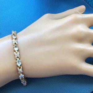 Jewelry - sterling silver gold plated Aqua bracelet X O